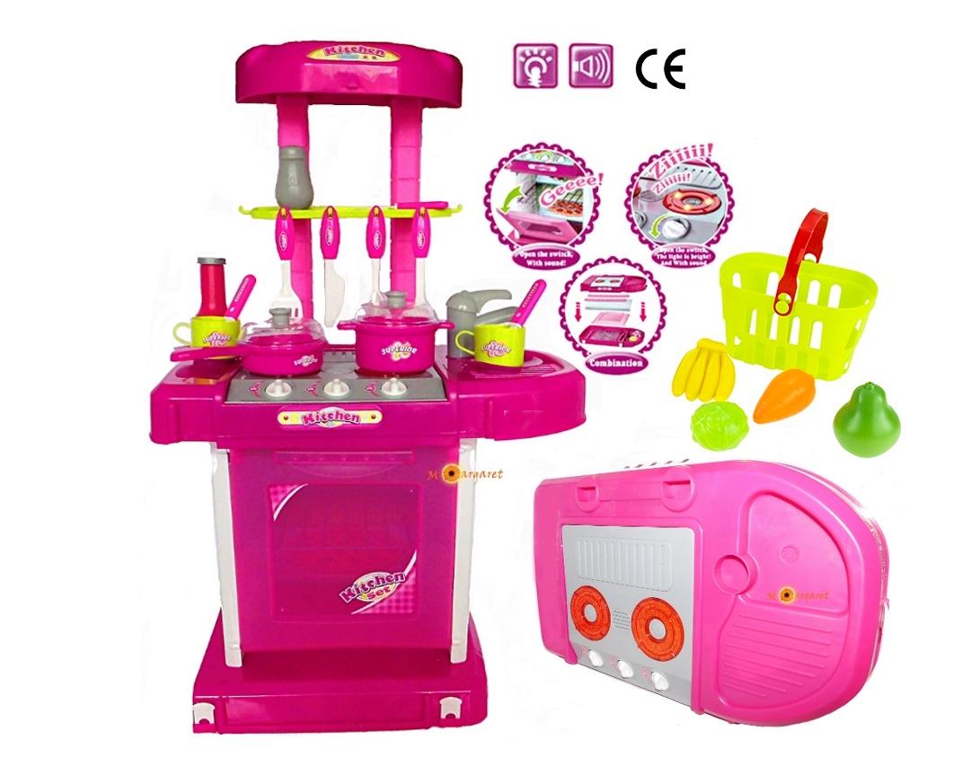 Duża Kuchnia Kuchenka Dla Dzieci W Walizce Z Dźwiękiem Różowa